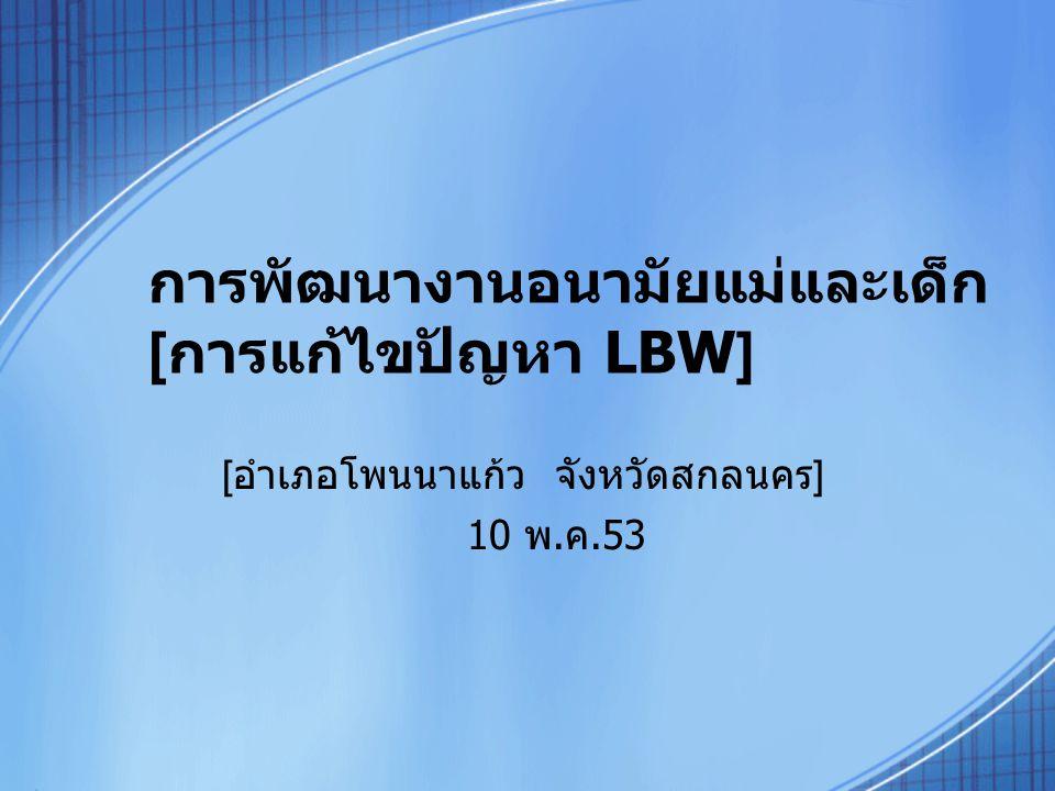 การพัฒนางานอนามัยแม่และเด็ก [การแก้ไขปัญหา LBW]